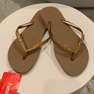 Havaiana Flip Flops Gold Glitter 37/37